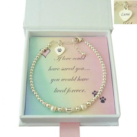 Pet Loss Bracelet with Sterling Silver Beads and Personalised Engraving